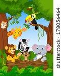 cute african safari animal... | Shutterstock .eps vector #178056464