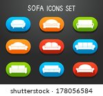 Sofas and couches furniture icons set for comfortable living room vector illustration