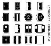open and closed doors icons set ... | Shutterstock .eps vector #178058174