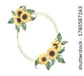 watercolor summer golden frame... | Shutterstock . vector #1780587263