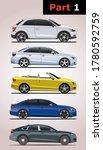 Set of car models (part 1). Audi (top to bottom) A1, A3, S3, A4, A5.