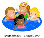 four kids swimming pool together | Shutterstock .eps vector #178060190