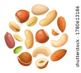 set whole and half nut seed.... | Shutterstock .eps vector #1780613186
