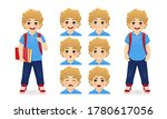 school boy holding book with... | Shutterstock .eps vector #1780617056