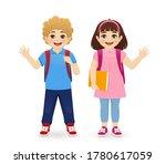 smiling school boy and girl... | Shutterstock .eps vector #1780617059
