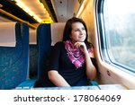 young women travelling by train ... | Shutterstock . vector #178064069
