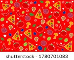 seamless pattern with pizza... | Shutterstock . vector #1780701083