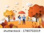 paper art style of autumn... | Shutterstock .eps vector #1780702019
