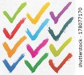 12 color ink sketch check mark... | Shutterstock .eps vector #178077170