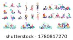 set of happy relaxed learning... | Shutterstock .eps vector #1780817270