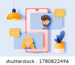 chat talk of young people with... | Shutterstock .eps vector #1780822496