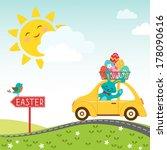 easter bunny carries eggs for... | Shutterstock .eps vector #178090616