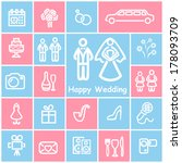 wedding icons  | Shutterstock .eps vector #178093709