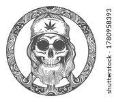 human skull wearing in hippie... | Shutterstock .eps vector #1780958393
