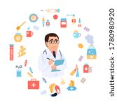 cold and flu treatment concept. ... | Shutterstock .eps vector #1780980920
