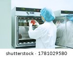 Small photo of Unidentified microbiologist is observing the growth of bacterial colony on incubated agar plate of selective media, concept of working in microbial laboratory in pharmaceutical industry.