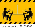 social distancing icon. keep... | Shutterstock .eps vector #1781054963