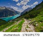 High Angle View Of Hiking Trai...