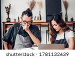 asian barista man and woman... | Shutterstock . vector #1781132639