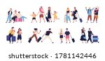 set of scenes with tourists ... | Shutterstock .eps vector #1781142446