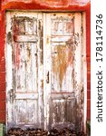 Old Wooden Door Covered With...