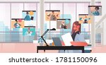 businesswoman chatting with mix ... | Shutterstock .eps vector #1781150096