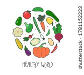 colorful healthy vegetable... | Shutterstock .eps vector #1781152223