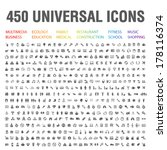 450 universal icons. | Shutterstock .eps vector #178116374