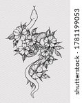 tattoo snake decorated flowers. ... | Shutterstock . vector #1781199053
