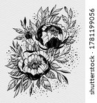 tattoo branch of flowers.... | Shutterstock . vector #1781199056
