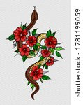 tattoo snake decorated flowers. ... | Shutterstock . vector #1781199059