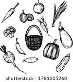 vector set of vegetables. black ...   Shutterstock .eps vector #1781205260
