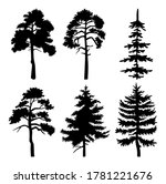 Silhouette Of Different Trees...