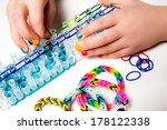 little girl with colorful nails ... | Shutterstock . vector #178122338
