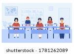 intelligent pupils studying in... | Shutterstock .eps vector #1781262089