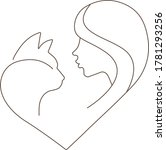 Love Cats Line Art Logo. Vecto...