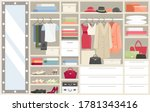 wardrobe with clothes vector... | Shutterstock .eps vector #1781343416