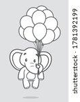 vector line elephant holding... | Shutterstock .eps vector #1781392199