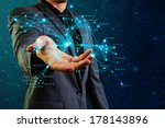 male holding network structure | Shutterstock . vector #178143896