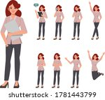 collection of business woman in ... | Shutterstock .eps vector #1781443799