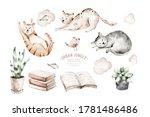 Cute Watercolor Cartoon Cats...