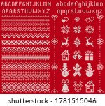 Knit Elements And Font. Vector. ...