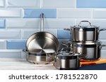 Set Of Aluminum Cookware On...