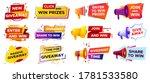 giveaway banner with megaphone. ... | Shutterstock .eps vector #1781533580