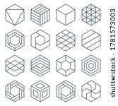 thin line hexagon symbol icon... | Shutterstock .eps vector #1781573003