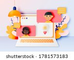 chat talk of young people with... | Shutterstock .eps vector #1781573183