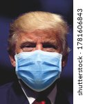 Small photo of Washington DC, USA - July 19 2020: Donald Trump, the president of America wearing a mask - COVID-19. Coronavirus protection concept.