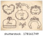 retro style wedding hand drawn... | Shutterstock .eps vector #178161749