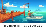 Lake With Wooden Pier And...