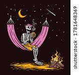 skull lying drinking coffee... | Shutterstock .eps vector #1781648369